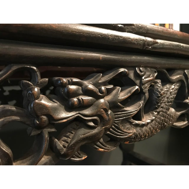 1940s Antique Asian Hand Carved Console For Sale - Image 5 of 9