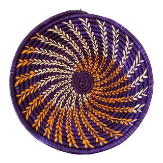 "Handmade Woven East African Burundi Basket 13""d by 3.5"" H For Sale"