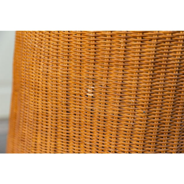 1970s 1970s Boho Chic Trompe l'Oeil Rattan Draped Wicker Ghost Entryway Table For Sale - Image 5 of 9