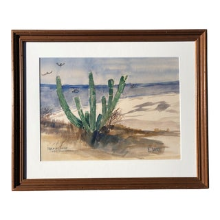 Vintage Watercolor Painting of a Cactus For Sale