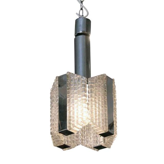 1960s Mid-Century Glass Chrome Pendant Light For Sale
