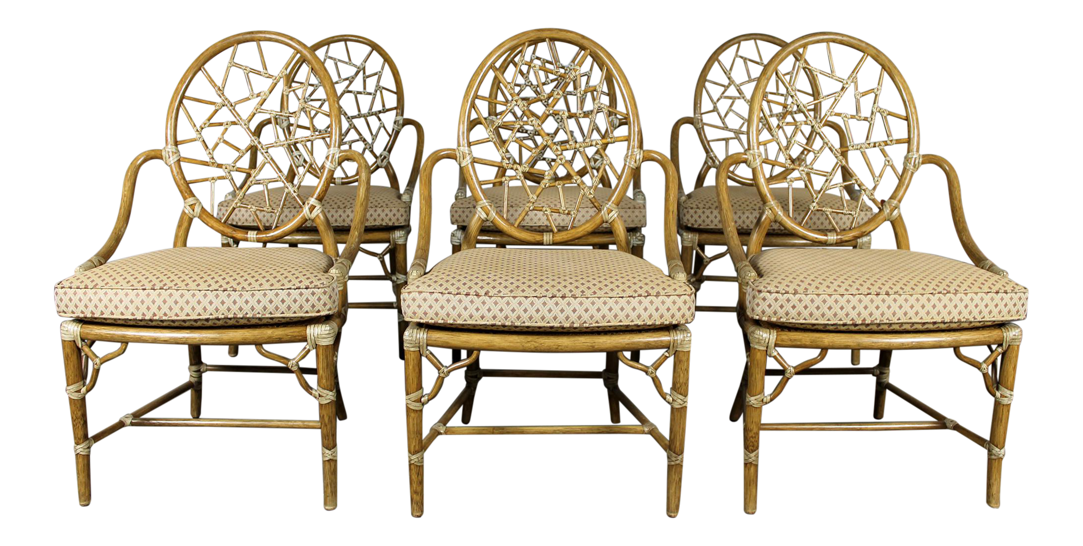 Vintage McGuire Rattan Cracked Ice Dining Chairs   Set Of 6