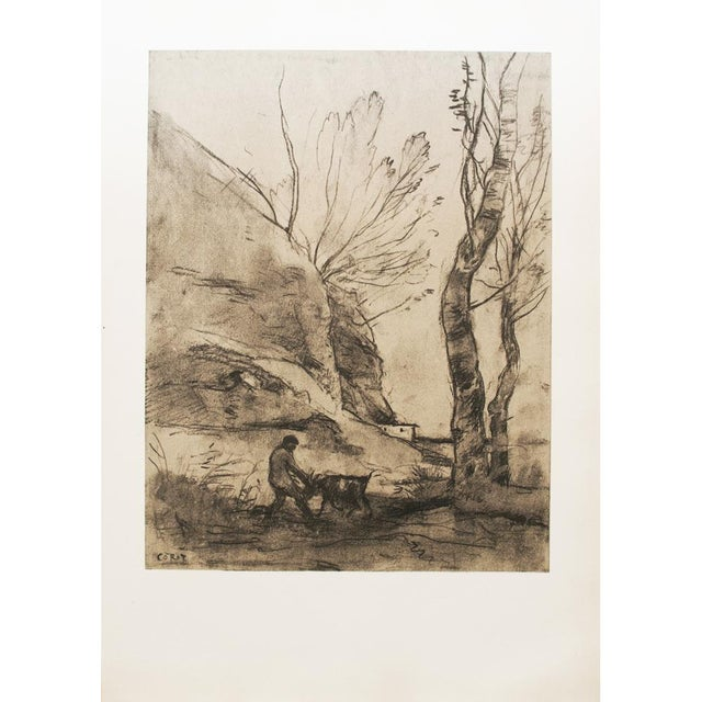 Vintage Cottage Lithograph After Chalk Drawing by Corot For Sale - Image 9 of 9