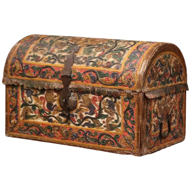 18th Century German Gothic Painted Decorative Bombe Box Wedding Trunk For Sale