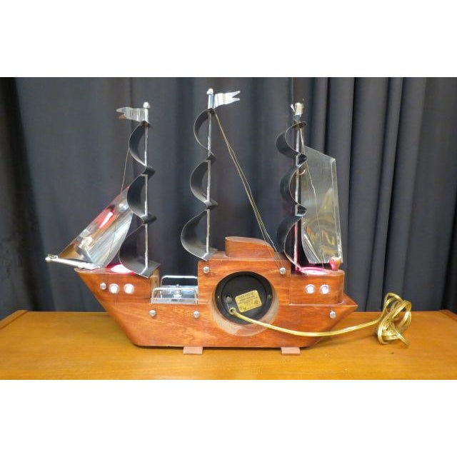 1960s 1960 Vintage Mid Century Modern Sailing Ship Clock and Light For Sale - Image 5 of 7