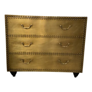 Bernhardt Brass and Nailhead 3 Drawer Dresser For Sale