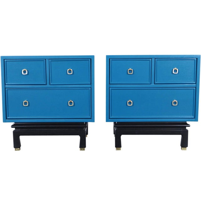 Blue Vintage Lacquered Nightstands by American of Martinsville For Sale - Image 8 of 8