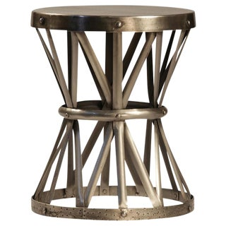 Gold Toned Hammered Nickel Side Table