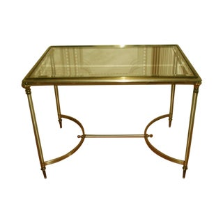 Italian Neoclassical Brass & Pewter Coffee Table For Sale