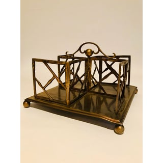 1990s Vintage Faux Bamboo Brass Desk Book Stand Preview