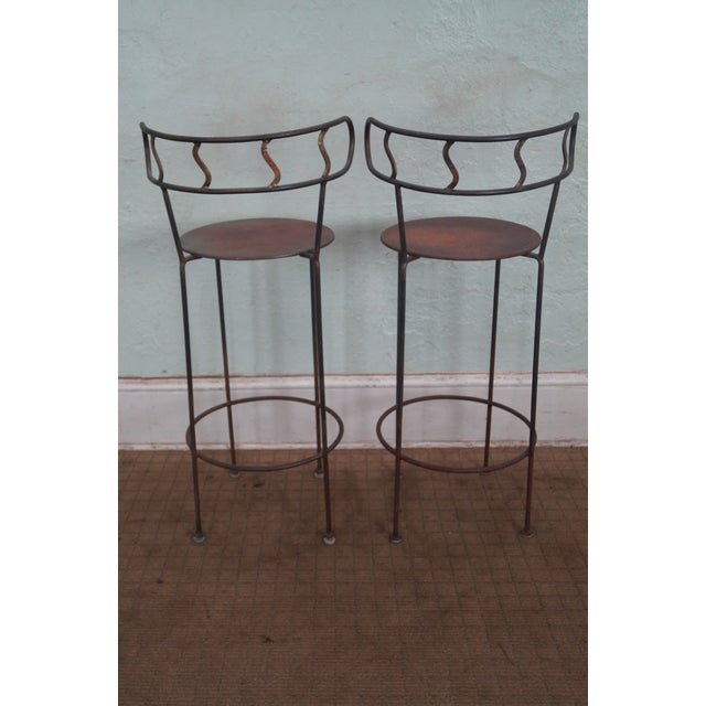 Vintage Distressed Industrial Metal Bar Stools For Sale - Image 4 of 7