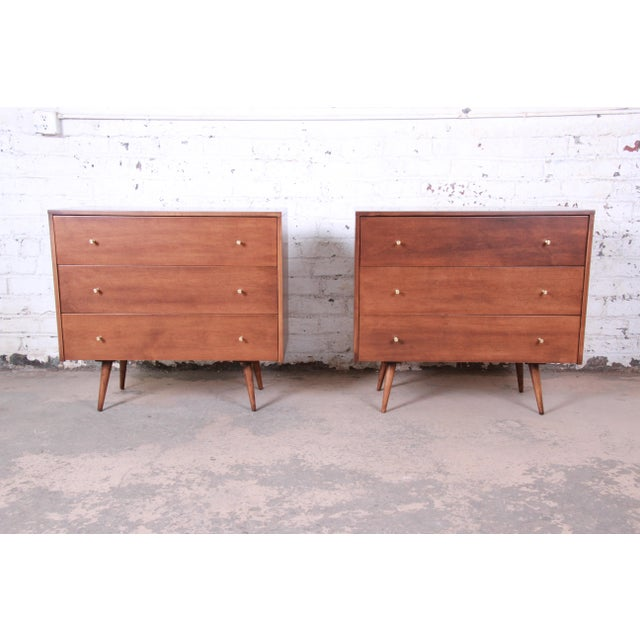 Paul McCobb Planner Group Three-Drawer Bachelor Chests or Large Nightstands, Pair For Sale - Image 13 of 13