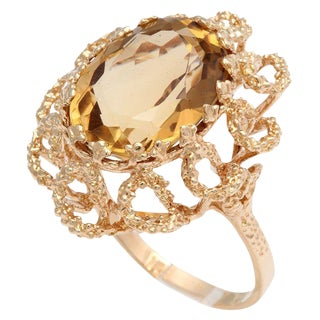 60's Brutalist Citrine Melted Gold Swirls Cocktail Ring For Sale