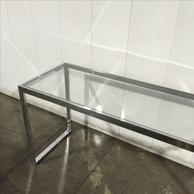 Milo Baughman Chrome Console Table - Image 3 of 7
