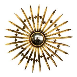 Large French Gilt Metal Sunburst Mirror For Sale