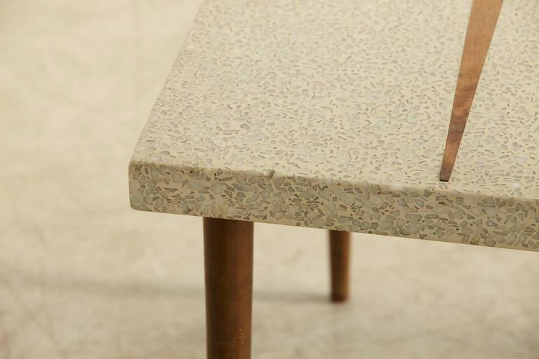Marble Rectangular Walnut Side Table With Walnut Inlaid Terrazzo Top For  Sale   Image 7 Of