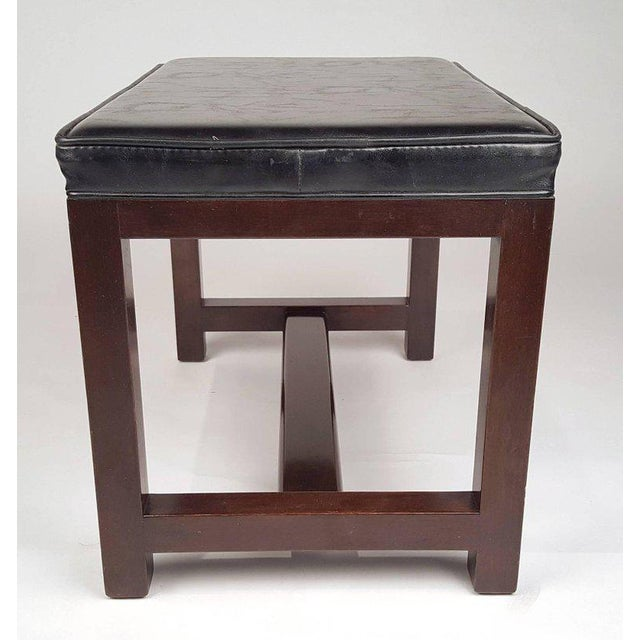 Wood Two Pairs of Solid Mahogany Stools by Edward Wormley for Dunbar For Sale - Image 7 of 9