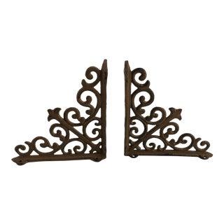 French Vintage Architectural Fleur-De-Lis Iron Veranda Brackets - a Pair For Sale