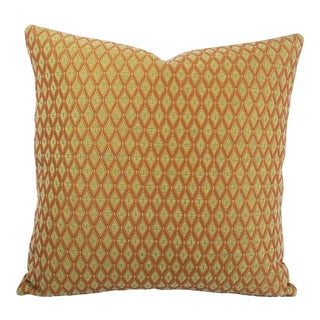 """Rust and Sage Chenille Diamond Pattern Pillow Cover - 20"""" X 20"""" For Sale"""