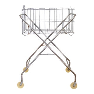 Collapsible Vintage Laundry Cart For Sale