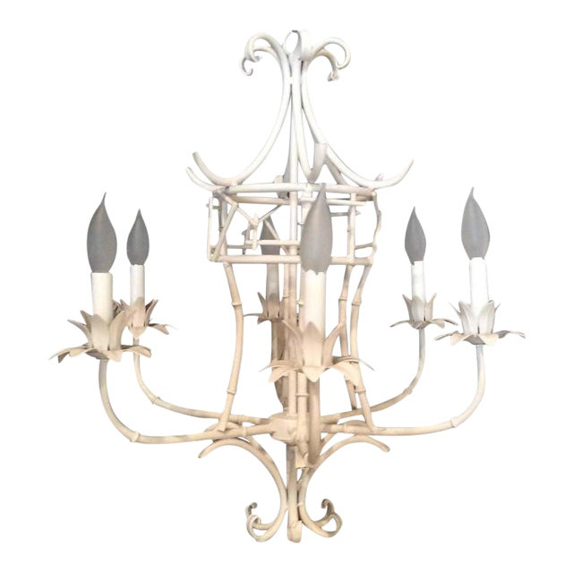Vintage Faux Bamboo Metal Pagoda Chandelier For Sale