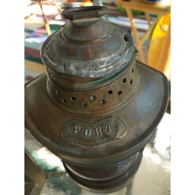 Mid 20th Century Copper Nautical Lanterns - a Pair For Sale - Image 11 of 13