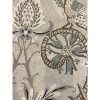 Thibaut Peacock Garden Linen Blend Fabric 4 1/2 Yards For Sale