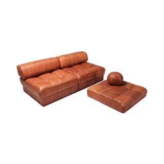 Cognac Leather Patchwork Ds 88 De Sede Sectional Sofa For Sale