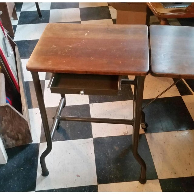 1960s 1960s Traditional Ideal Sherman-Manson Wood/Metal Typewriter Table For Sale - Image 5 of 9