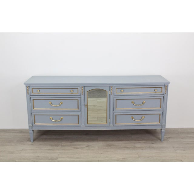 Mid Century Gray Neoclassical Style Dresser For Sale - Image 11 of 11