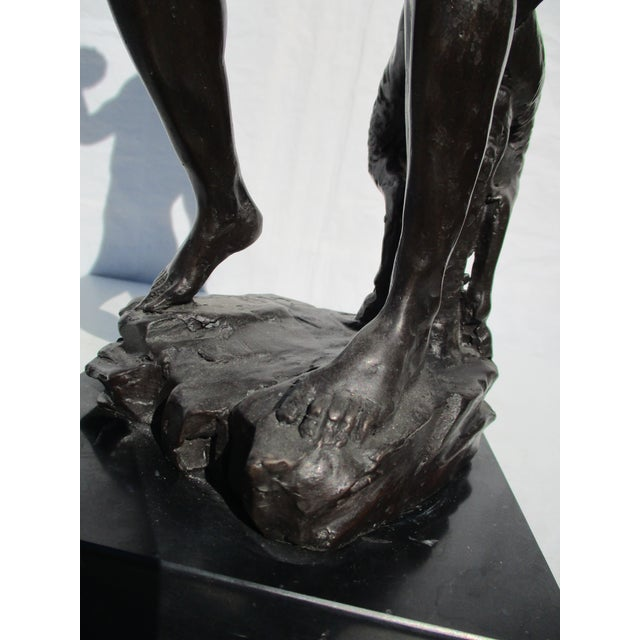 Metal Bronze Bacchus and Fawn Sculpture For Sale - Image 7 of 10