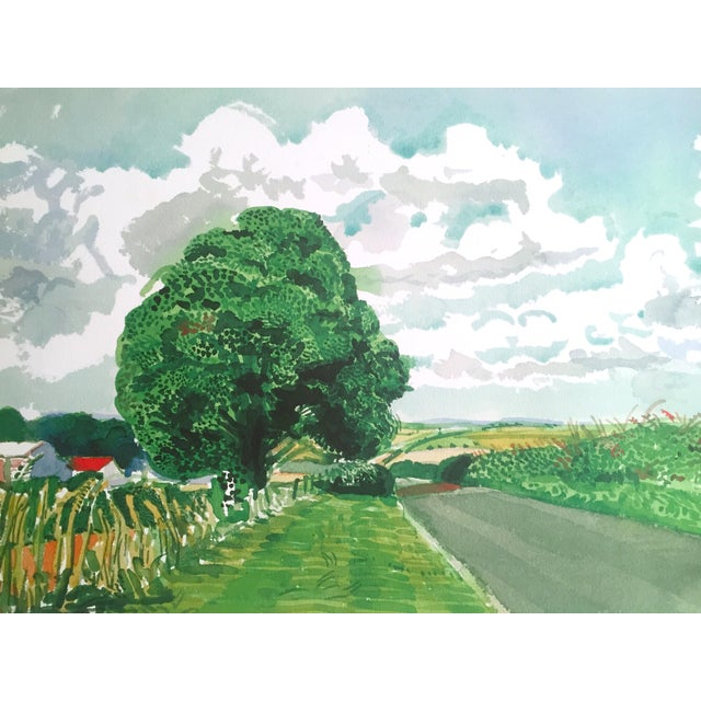 """2000 - 2009 David Hockney Fine Art Lithograph Print Midsummer : East Yorkshire Series """" Road and Tree Near Wetwang """" 2004 For Sale - Image 5 of 13"""