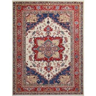 Kazak Garish Shane Ivory/Red Wool Rug - 8'1 X 10'7