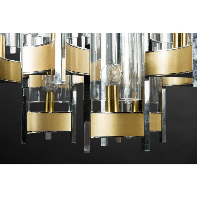 Gaetano Sciolari chrome and brushed brass two-tiered nine-light chandelier Three arms with glass cylinders Chrome and...