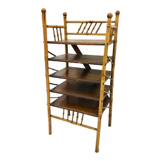 Antique Victorian Stick & Ball Burnt Bamboo Shelf For Sale