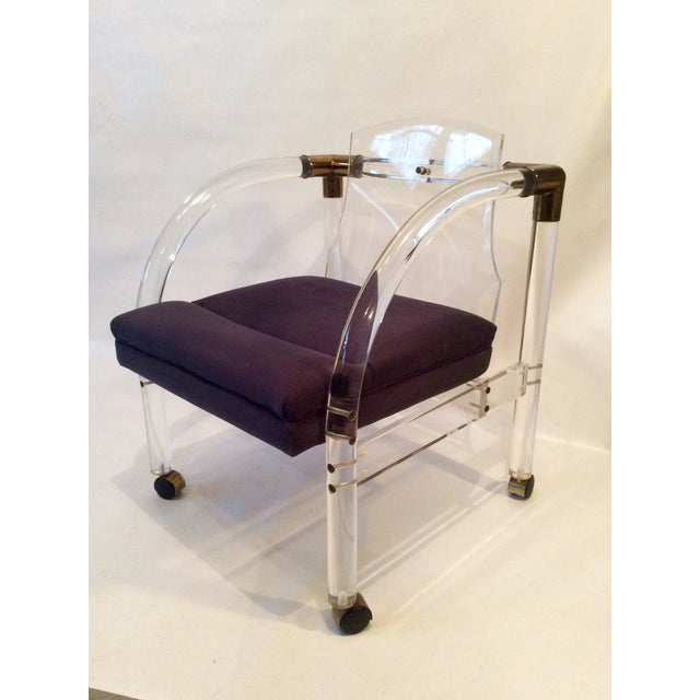 Mid-Century Lucite & Brass Lounge Chair - Image 2 of 9