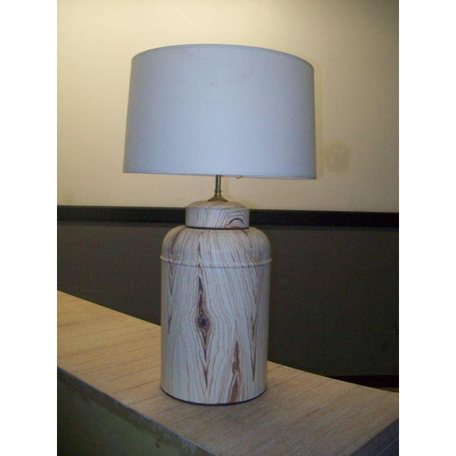 Pair of Tole Faux-Painted Canister Lamps