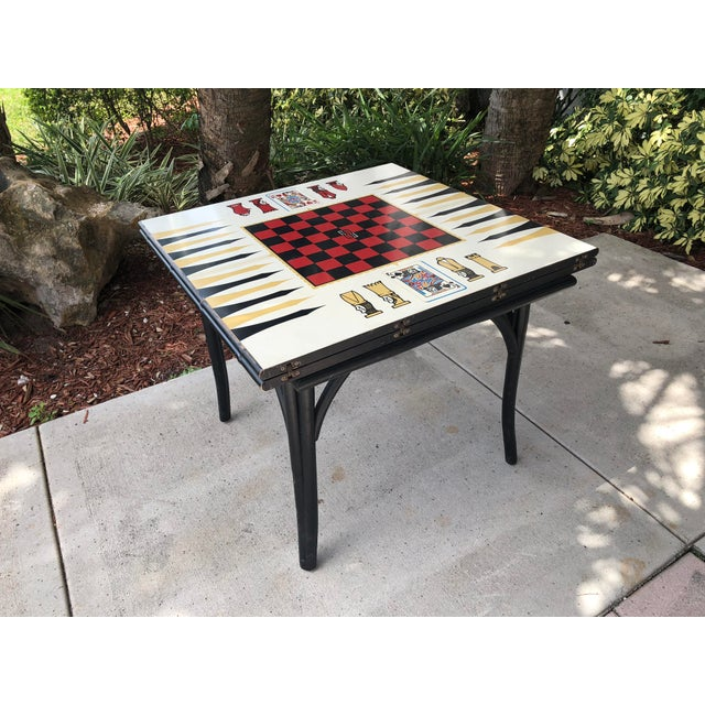 1950s Vintage Novelty Bamboo Game Table For Sale - Image 10 of 10