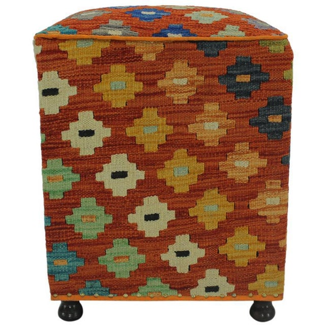 Boho Chic Hammer Orange Handmade Kilim Upholstered Ottoman For Sale - Image 3 of 8