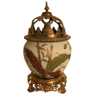 19th Century Aesthetic Movement Painted Porcelain Urn With Pierced Lid For Sale