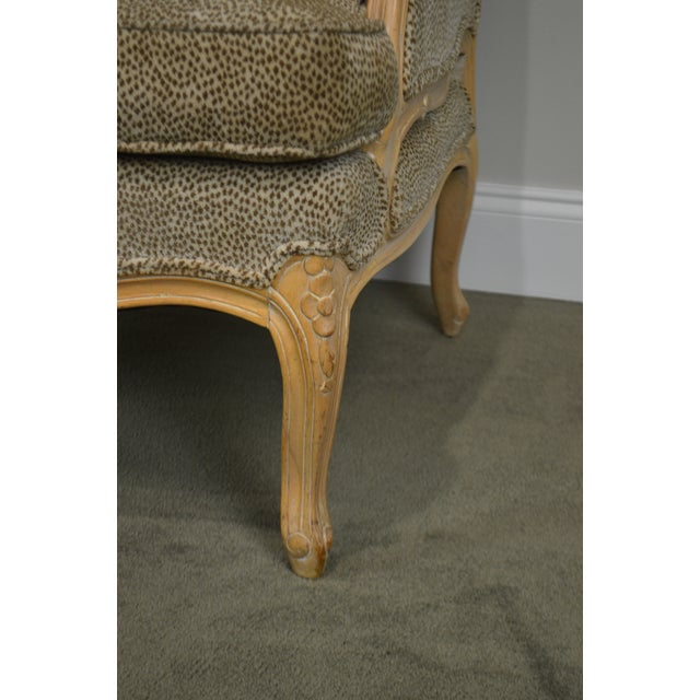 French Louis XV Style Custom Upholstered Wide Seat Bergere Chair With Ottoman For Sale - Image 12 of 13