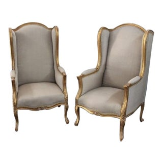 Louis XV Style Wingback Bergères Chairs - A Pair For Sale