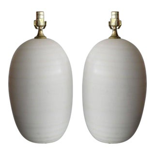 1950s Egg Shape Ceramic Table Lamps - a Pair For Sale