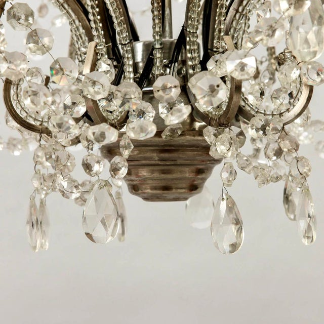 French Sixteen-Arm Silver Metal Beaded Chandelier For Sale - Image 9 of 10