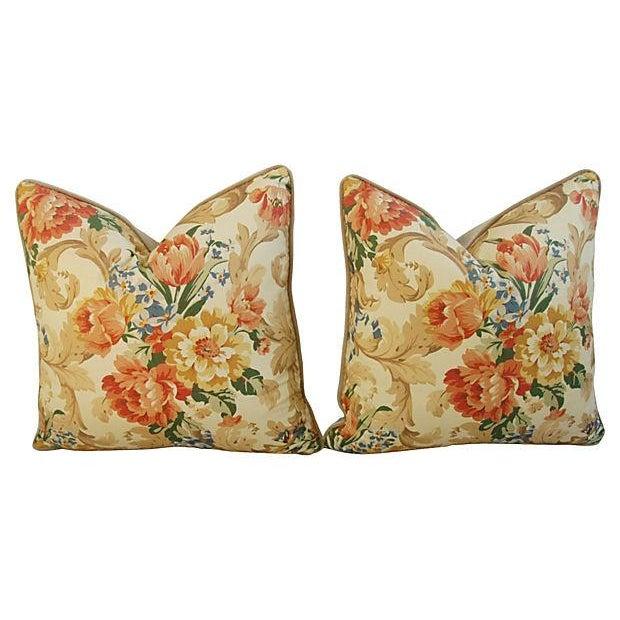 Designer Italian Linen & Velvet Pillows - A Pair - Image 6 of 7