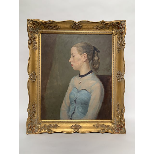 Vintage Portrait of a Young Woman Original Oil Painting in Ornate Giltwood Frame For Sale - Image 12 of 12