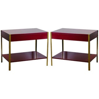 Pair of 'Laque' Oxblood Lacquer and Brass Nightstands by Design Frères-a Pair For Sale