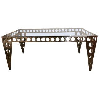 Contemporary Modern Industrial Italian Glass Top Metal Table For Sale