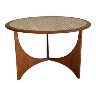 Mid-Century Modern Sculpted Teak and Cane Top Dining Table For Sale