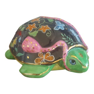 Small Handpainted Glazed Ceramic Turtle Figurine For Sale